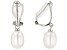 7-7.5mm White Cultured Freshwater Pearl Rhodium Over Sterling Silver Clip-On Earrings