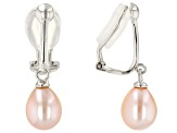 7-7.5mm Pink Cultured Freshwater Pearl Rhodium Over Sterling Silver Clip-On Earrings