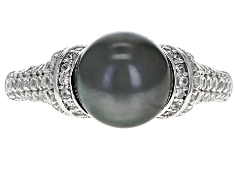 8.5-9.0mm Cultured Tahitian Pearl & 1.01ctw White  Zircon Rhodium Over Sterling Silver Ring