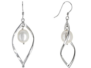 8.5-9.5mm White Cultured Oval Freshwater Pearl Rhodium Over Sterling Silver Dangle Earrings