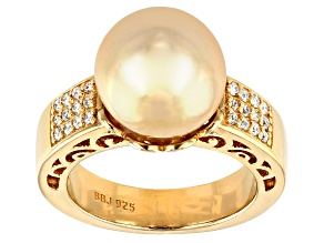 11-11.5mm Golden Cultured South Sea Pearl & Moissanite Fire® 18k Yellow Gold Over Silver Ring
