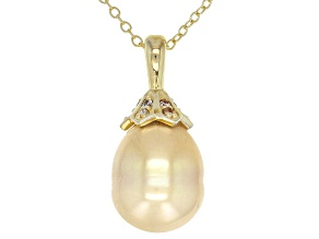 10mm Golden Cultured South Sea Pearl & Moissanite Fire® 0.12ctw DEW 18k Gold Over Silver Pendant
