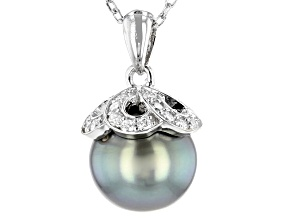 10mm Cultured Tahitian Pearl & Moissanite Fire® 0.30ctw Dew Rhodium Over Silver Pendant With Chain