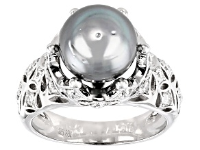 9.5-10mm Cultured Tahitian Pearl & Moissanite Fire® 0.60ctw Dew Rhodium over Sterling Silver Ring
