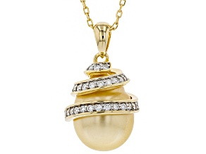 11mm Cultured Golden South Sea Pearl & Moissanite Fire® 0.45ctw Dew 18k Gold over Silver Pendant