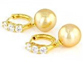 10mm Cultured Golden South Sea Pearl & Moissanite Fire® 0.96ctw Dew 18k Gold Over Silver Earrings