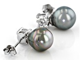 8mm Cultured Tahitian Pearl & Moissanite Fire® .66ctw Dew Rhodium Over Sterling Silver Earrings