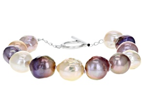 10-12mm Multi-color Cultured Kasumiga Pearl Rhodium over Sterling Silver 8 inch Bracelet