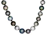 Cultured Tahitian Pearl Rhodium Over Sterling Silver Necklace 12-14mm