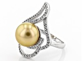 Cultured Golden South Sea Pearl Rhodium Over Sterling Silver Ring 10mm