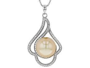 11mm Cultured Golden South Sea Pearl Rhodium over Sterling Silver Pendant