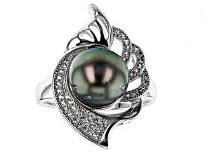 10mm Cultured Tahitian Pearl 0.31ctw White Topaz Rhodium Over Sterling Silver Ring
