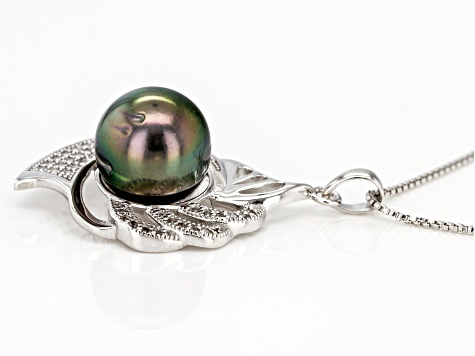11mm Cultured Tahitian Pearl 0.31ctw White Topaz Rhodium over Silver Pendant with Chain