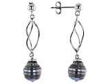 8-9mm Cultured Tahitian Pearl Rhodium over Sterling Silver Dangle Earrings