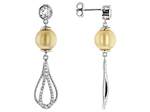 8-9mm Cultured Golden South Sea Pearl 1.65ctw White Topaz Rhodium Over Silver Dangle Earrings
