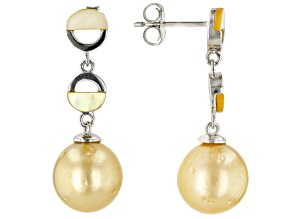 10mm Cultured Golden South Sea Pearl & Golden Mother of Pearl Rhodium over Silver Dangle Earrings