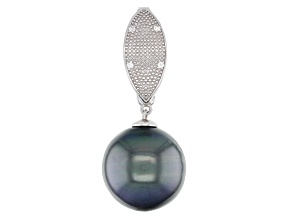 15-16mm Cultured Tahitian Pearl With 0.05ctw White Topaz Rhodium over Sterling Silver Enhancer