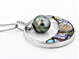 8mm Cultured Tahitian Pearl Rhodium Over Sterling Silver Pendant With Chain