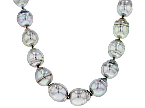 8-10mm Cultured Silver Tahitian Pearl Rhodium Over Sterling Silver 18 inch Strand Necklace