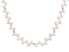 Genusis™5.5-7.5mm White Cultured Freshwater Pearl Rhodium Over Sterling Silver 18 inch Necklace