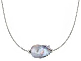 Genusis™ 14-16mm Silver Cultured Freshwater Pearl Rhodium over Sterling Silver Necklace