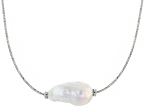 Genusis™ 14-16mm White Cultured Freshwater Pearl Rhodium over Sterling Silver Necklace