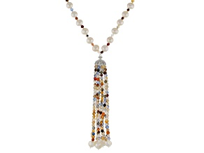 Genusis™ 7-8mm Cultured Freshwater Pearl With Cubic Zirconia & Quartz Rhodium over Silver Necklace
