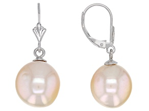 Genusis™ 10-12mm Peach Cultured Freshwater Pearl Rhodium Over Sterling Silver Drop Earrings
