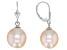Genusis™ 10-12mm Peach Cultured Freshwater Pearl Rhodium Over Sterling Silver Drop Earrings