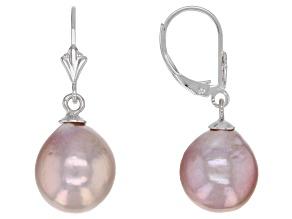Genusis™ 10-12mm Lavender Cultured Freshwater Pearl Rhodium Over Sterling Silver Drop Earrings