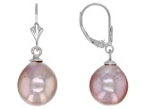 Genusis™ 10-12mm Lavender Cultured Freshwater Pearl Rhodium Over Sterling Silver Drop Earrings