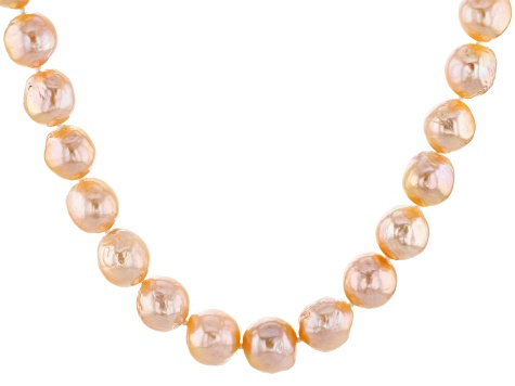 Genusis™ 10-12.5mm Peach Cultured Freshwater Pearl Rhodium over Silver 20 inch Necklace Strand