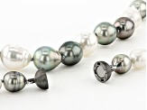 9-12mm Silver Cultured Tahitian & White Cultured South Sea Pearl Black rhodium over Silver Necklace