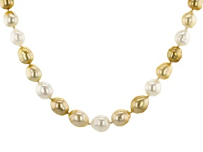 9-12mm Golden & White Cultured South Sea Pearl 18k Yellow Gold Over Sterling Silver 18 inch Necklace