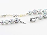 3-12mm White & Silver Cultured Japanese Akoya & Golden South Sea Pearl Rhodium over Silver Necklace