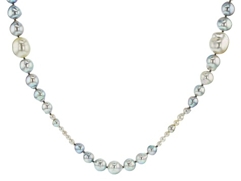 3-13mm Multi-Color Cultured Japanese Akoya & Cultured South Sea Pearl Rhodium over Silver Necklace