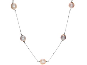 Genusis™ 9-12mm Peach & Lavender Cultured Freshwater Pearl Rhodium Over Silver 36 inch Necklace