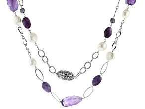 White Cultured Freshwater Pearl, Cubic Zirconia & Amethyst Rhodium over Silver Necklace 12-14mm