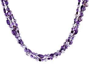 5-8mm Lavender Cultured Freshwater Pearl & Amethyst with Hematine Rhodium over Silver Necklace