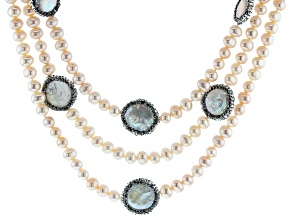 White Cultured Freshwater Pearl with  Cubic Zirconia Rhodium over Silver Necklace 6.5-18mm