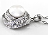 9.5-10mm White Cultured Freshwater Pearl With Cubic Zirconia Rhodium Over Silver Pendant 1.23ctw