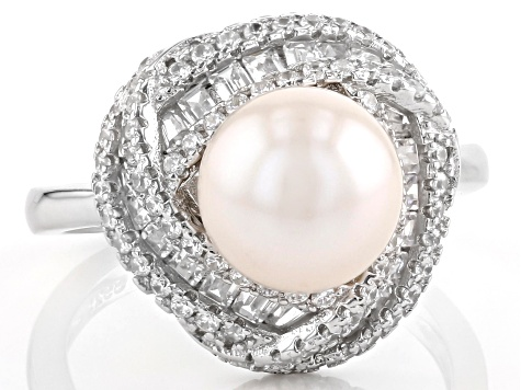 8.5-9mm White Cultured Freshwater Pearl With Cubic Zirconia Rhodium Over Silver Ring 0.99ctw