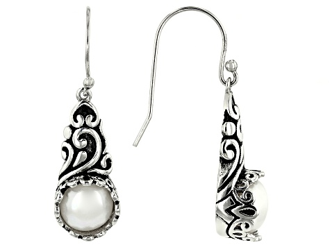 8mm White Cultured Freshwater Pearl Filigree Oxidized Rhodium over Silver Dangle Earrings