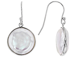13-14mm Coin White Cultured Freshwater Pearl Rhodium Over Sterling Silver Dangle Earrings