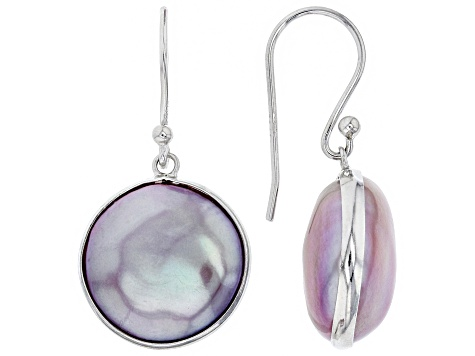13-14mm Coin Lavender Cultured Freshwater Pearl Rhodium Over Sterling Silver Dangle Earrings