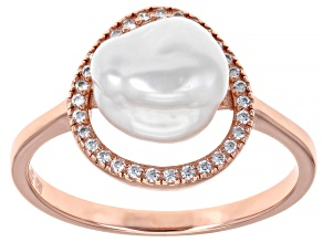9-11mm White Cultured Keshi Freshwater Pearl With Cubic Zirconia 18k Rose Gold over Silver Ring