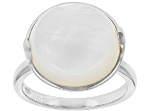 14-14.5mm Round White Mother of Pearl Rhodium Over Sterling Silver Ring