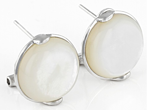 14-14.5mm Round White Mother of Pearl Rhodium Over Sterling Silver Earrings