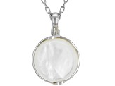 14-14.5mm Round White Mother of Pearl Rhodium over Sterling Silver Pendant with 18 inch Chain