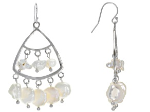 4-10mm White Cultured Keshi Freshwater Pearl Rhodium Over Sterling Silver Chandelier Earrings